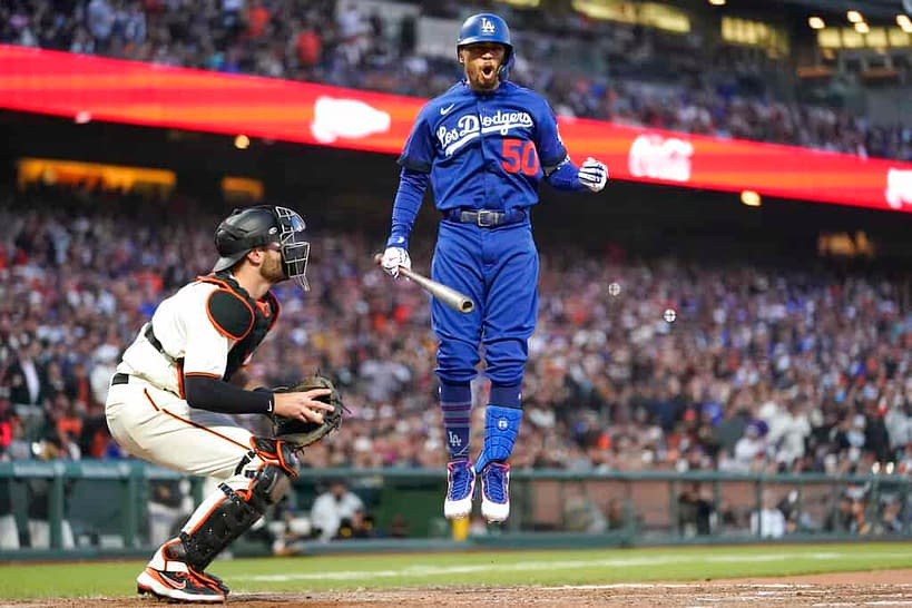 The best free expert MLB bets today with Las Vegas betting odds and picks like Mookie Betts going over 1.5 total bases on 10/14/21.